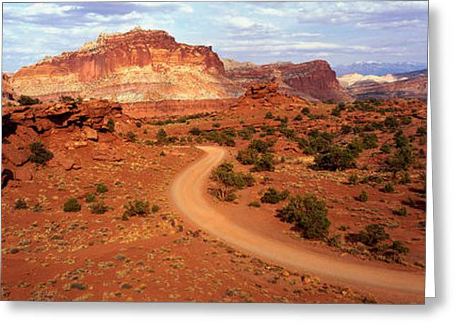 Roadway Greeting Cards - Desert Road, Utah, Usa Greeting Card by Panoramic Images