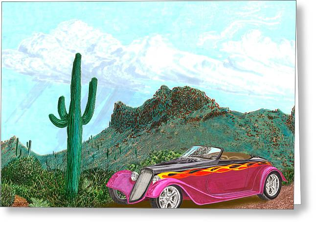 Completely Greeting Cards - Desert Roadster 34 Ford Greeting Card by Jack Pumphrey