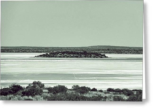 Desert Lake Pyrography Greeting Cards - Desert salt lake Greeting Card by Girish J