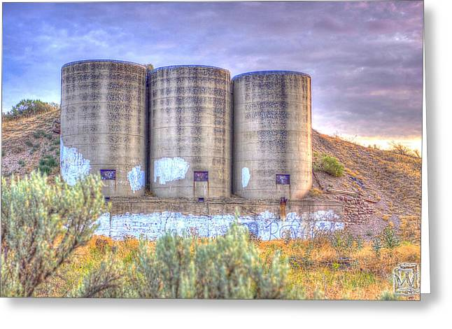 Silo Pyrography Greeting Cards - Desert Silos Greeting Card by Kenny Worland