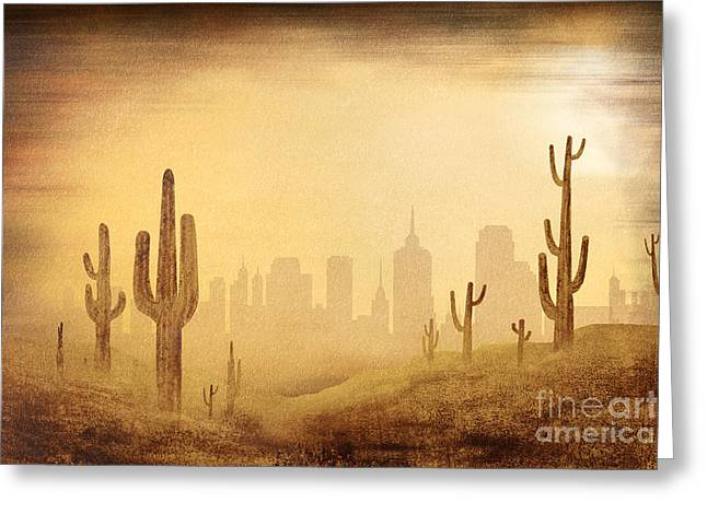 Heat Mixed Media Greeting Cards - Desert Skyline Greeting Card by Bedros Awak