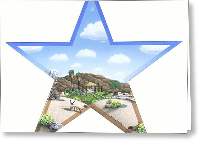 Whimsical Greeting Cards - Desert Star Greeting Card by Snake Jagger