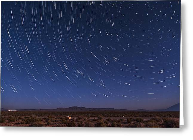 Stars Trail Greeting Cards - Desert Star Trails Greeting Card by Cat Connor