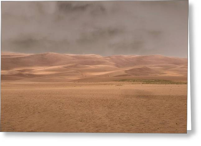 Sweating Greeting Cards - Great Sand Dunes Approaching Storm Greeting Card by Dan Sproul