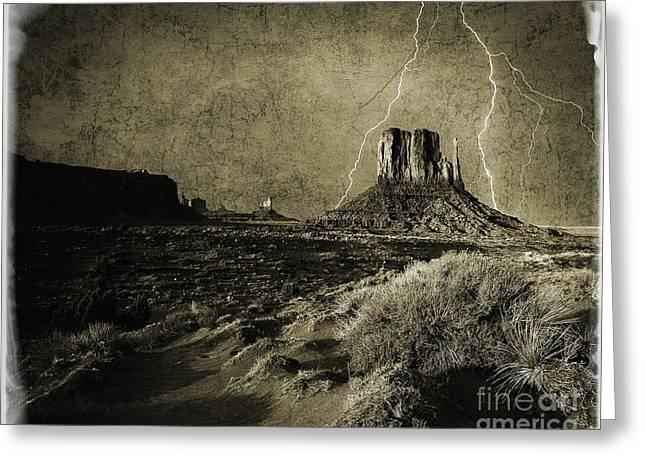 Arizona Lightning Digital Art Greeting Cards - Desert Storm Greeting Card by Edmund Nagele