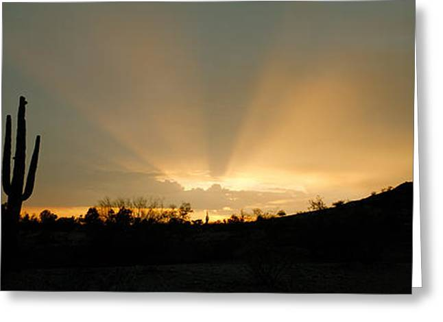 Early Morning Sun Greeting Cards - Desert Sun Beams, Near Phoenix Greeting Card by Panoramic Images