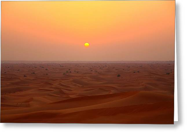 Flux Greeting Cards - Desert Sunset Greeting Card by FireFlux Studios