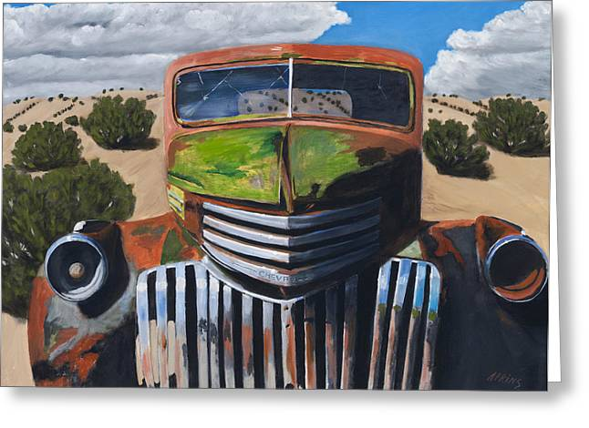 Old Pickup Greeting Cards - Desert Varnish Greeting Card by Jack Atkins