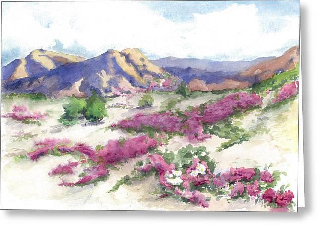 Datura Paintings Greeting Cards - Desert Verbena Greeting Card by Maria Hunt