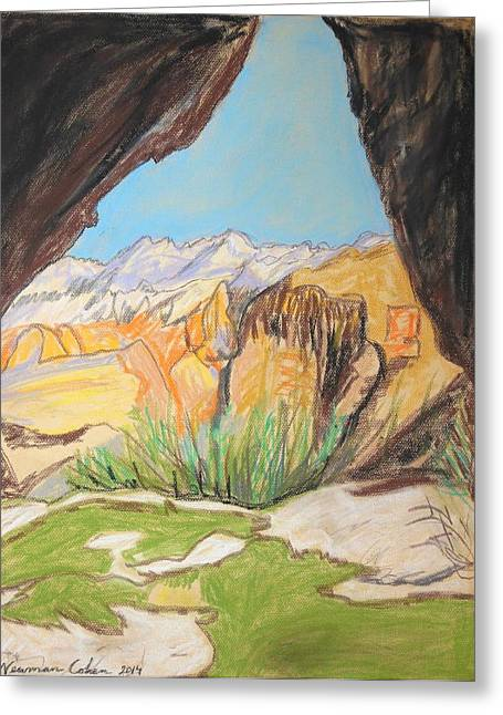 Pastel Mountains Metal Prints Greeting Cards - Desert View from the Cave Greeting Card by Esther Newman-Cohen