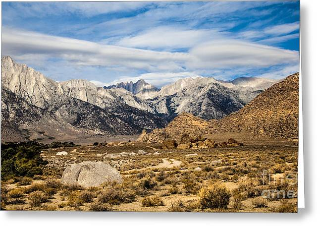 Landscape Framed Prints Greeting Cards - Desert View Of Majestic Mount Whitney Mountain Peaks With Clouds Greeting Card by Jerry Cowart