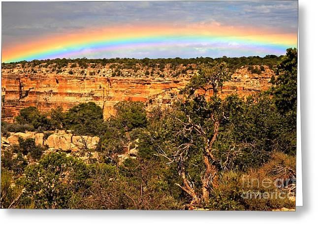 Desert View Greeting Cards - Desert View Rainbow Greeting Card by Adam Jewell