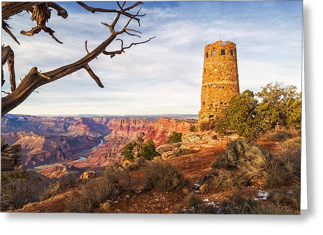 Watson Lake Reflections Greeting Cards - Desert View Watchtower Greeting Card by Alex Mironyuk