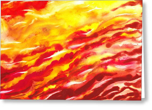 Yellow Line Greeting Cards - Desert Wind Abstract II Greeting Card by Irina Sztukowski