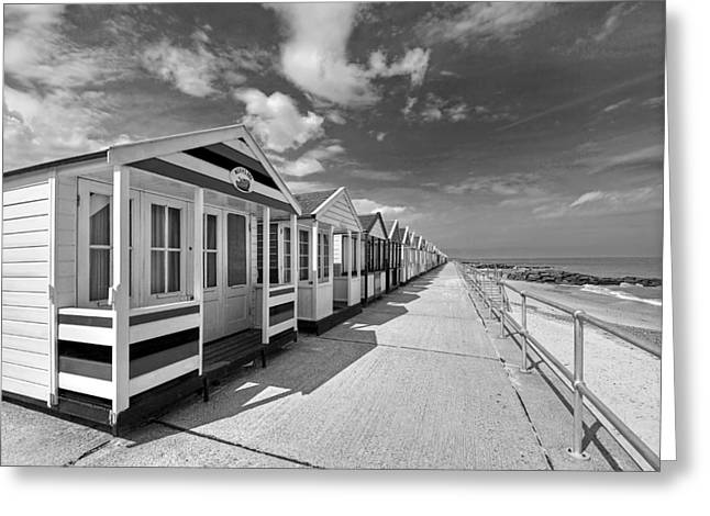 Ocean Front Landscape Greeting Cards - Deserted Beach Huts Greeting Card by Gill Billington