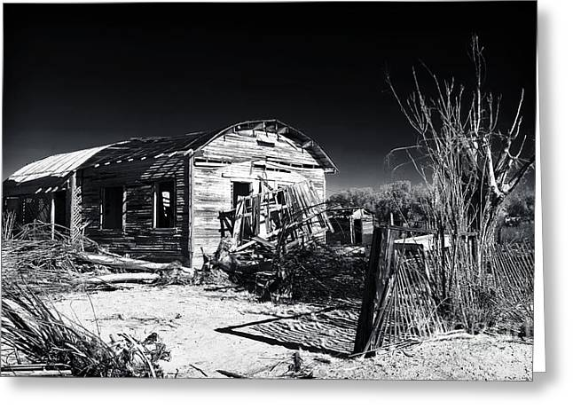 Abandoned School House. Greeting Cards - Deserted in the Desert  Greeting Card by John Rizzuto