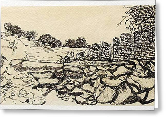 Spectrum Drawings Greeting Cards - Deserted Landscape Greeting Card by Jeanne Ward