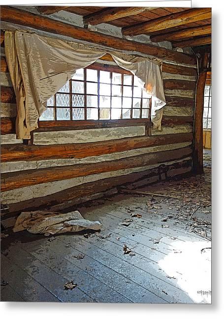 Log Cabin Interiors Digital Art Greeting Cards - Deserted Log Cabin Interior - Light Through the Window Greeting Card by Rebecca Korpita