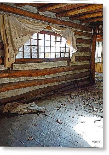Log Cabin Interiors Digital Greeting Cards - Deserted Log Cabin Interior - Light Through the Window Greeting Card by Rebecca Korpita