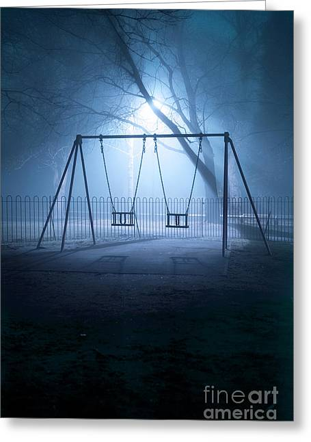 Missing Child Greeting Cards - Deserted Playground Swings In Fog At Night  Greeting Card by Lee Avison
