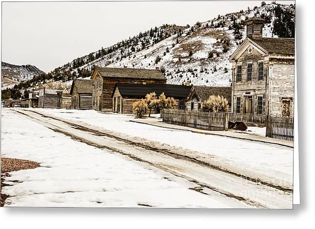 False Front Buildings Greeting Cards - Deserted Street Greeting Card by Sue Smith
