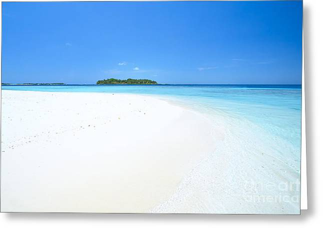 Tropical Beach Greeting Cards - Deserted tropical beach and island in the Maldives Greeting Card by Matteo Colombo