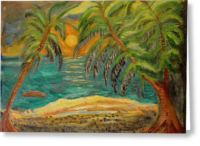 Deserted Tropical Sunset Greeting Card by Louise Burkhardt