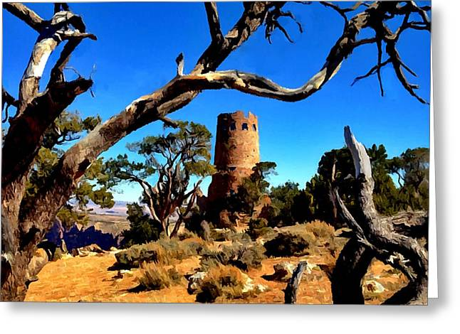 Desertview Greeting Cards - DesertView Watchtower Grand Canyon Greeting Card by  Bob and Nadine Johnston