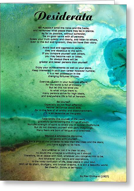 Prints For Sale Art Greeting Cards - Desiderata 2 - Words of Wisdom Greeting Card by Sharon Cummings