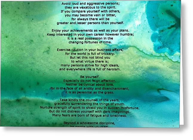 Desiderata 2 - Words of Wisdom Greeting Card by Sharon Cummings