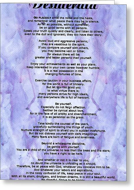 For Sale Greeting Cards - Desiderata 3 - Words of Wisdom Greeting Card by Sharon Cummings
