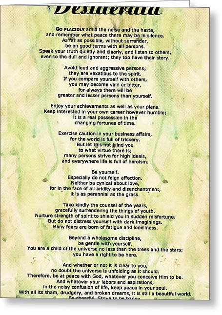Original For Sale Greeting Cards - Desiderata 5 - Words of Wisdom Greeting Card by Sharon Cummings