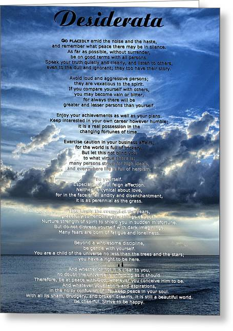 For Sale Greeting Cards - Desiderata 7 - Inspirational Art By Sharon Cummings Greeting Card by Sharon Cummings