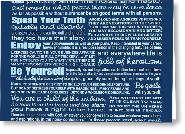 Reverse Art Greeting Cards - Desiderata - Blue Greeting Card by Ginny Gaura