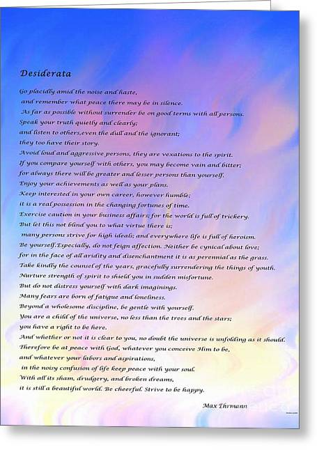 Desiderata Blue Sky Pink Clouds Greeting Card by Barbara Griffin