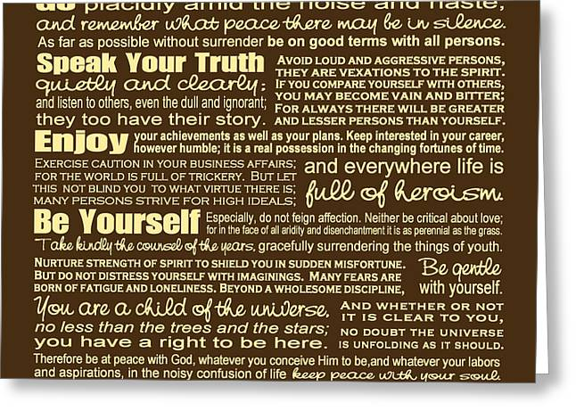 Reverse Art Greeting Cards - Desiderata - Brown Greeting Card by Ginny Gaura