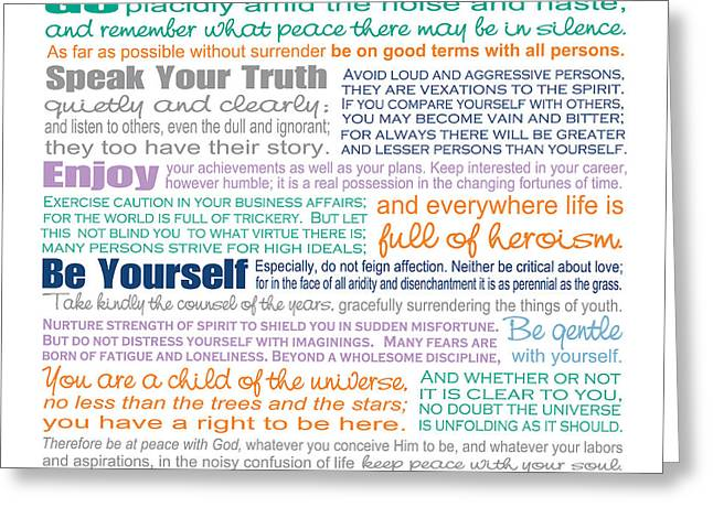 Word Greeting Cards - Desiderata - Color  Greeting Card by Ginny Gaura