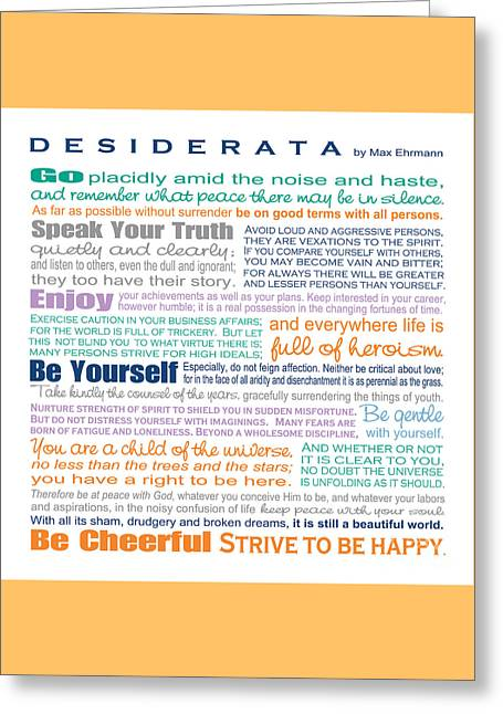 The Thing Greeting Cards - Desiderata - Multi-Color - Square Format Greeting Card by Ginny Gaura