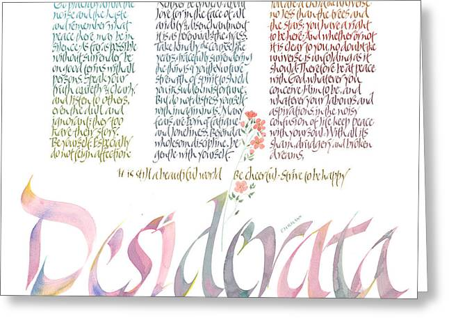 Framed Calligraphy Print Greeting Cards - Desiderata Greeting Card by Dave Wood