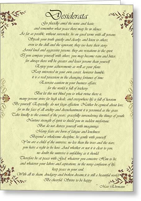 Movie Poster Prints Greeting Cards - Desiderata Gold Bond Scrolled Greeting Card by Movie Poster Prints
