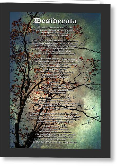 Antiques Sign Greeting Cards - Desiderata Inspiration Over Old Textured Tree Greeting Card by Christina Rollo