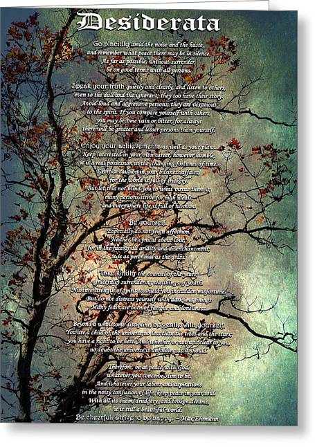 Uplifted Greeting Cards - Desiderata Inspiration Over Old Textured Tree Greeting Card by Christina Rollo