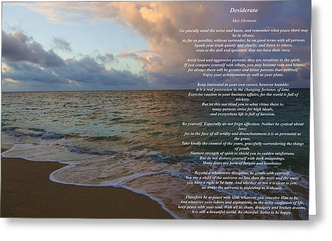Recently Sold -  - Ocean Photography Greeting Cards - Desiderata Greeting Card by Jon Burch Photography