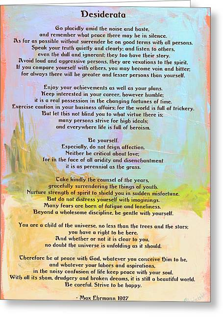Recently Sold -  - Top Seller Greeting Cards - Desiderata - Journey Greeting Card by Paulette B Wright