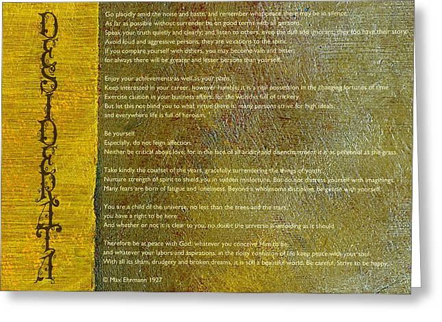 Inner Mixed Media Greeting Cards - Desiderata ll Greeting Card by Michelle Calkins