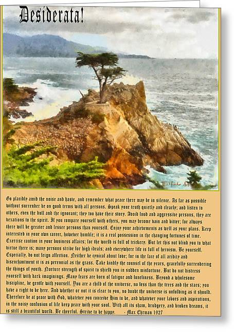 Pacific Grove Greeting Cards - Desiderata Lone Cypress Greeting Card by Max Ehrmann