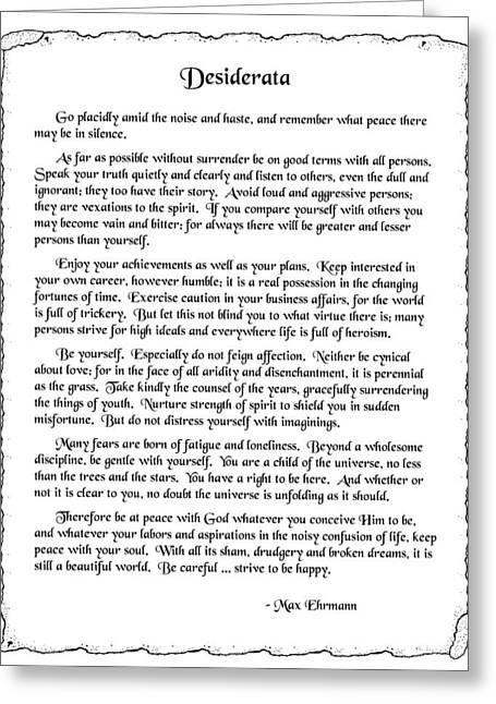 Desiderata 2 Greeting Card by Mike Flynn