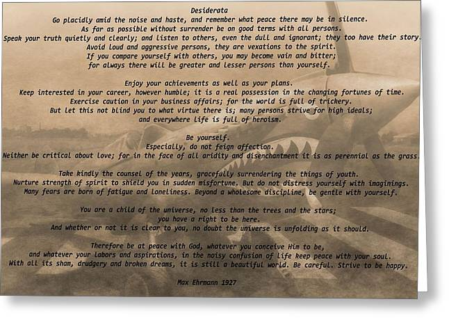 Air Force Mixed Media Greeting Cards - Desiderata Military Greeting Card by Dan Sproul