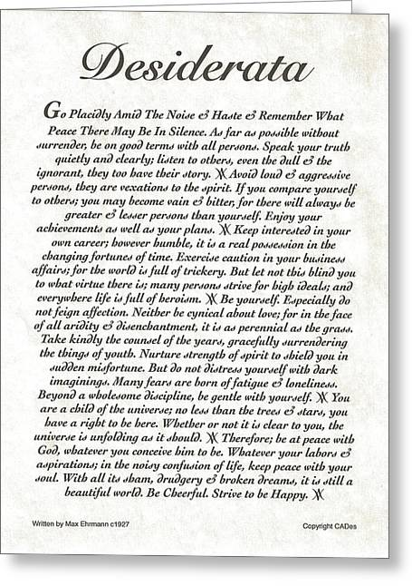 Recently Sold -  - Motivational Poster Greeting Cards - DESIDERATA Original Natural Stone Greeting Card by Desiderata Gallery