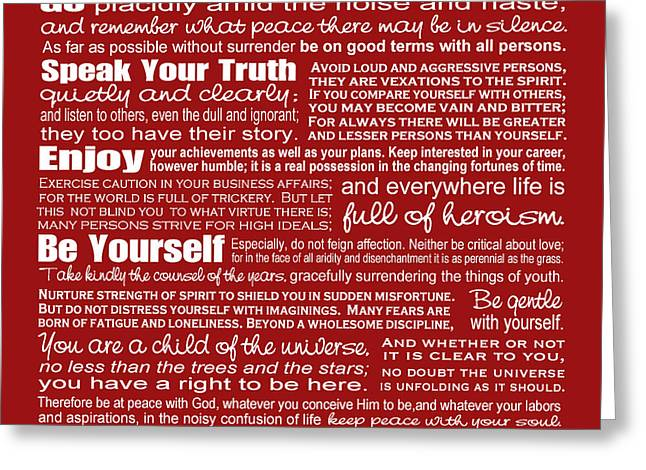 Reverse Art Greeting Cards - Desiderata - Red Greeting Card by Ginny Gaura